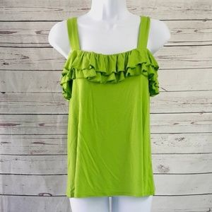 4/$25 NWT Cupio green sleeveless ruffle tank top